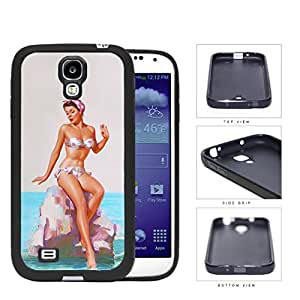 Pin Up Model Sitting On Rock Pose Rubber Silicone TPU Cell Phone Case Samsung Galaxy S4 SIV I9500