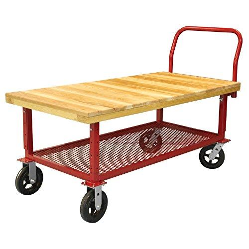 Deck Akro Wood Mils - Akro-Mils RWH24481A5M8AX HD Adjustable Work Height Platform Truck - Wood, Red