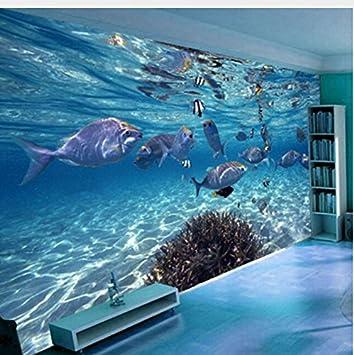 Mznm 3D Wallpaper Creativo Submarino Mundo Marina Mural Vida Niños Dormitorio Acuario Sala De Estar Telón De Fondo De Papel De Pared Decoración Para El ...