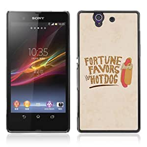 Designer Depo Hard Protection Case for Sony Xperia Z L36H / Fortunes Favors HotDog