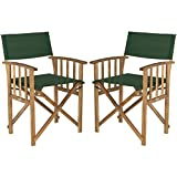 Safavieh Outdoor Living Collection Laguna Director Chairs, Brown/Green, Set of 2