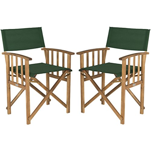 Safavieh Outdoor Living Collection Laguna Director Chairs, Brown/Green, Set of 2 by Safavieh