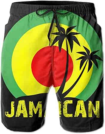 9e128ed587 Coconut Tree Reggae Color Jamaican Men's Tropical Quick Dry Board Shorts  Bathing Suits Swimwear Volley Beach