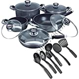 CONCORD 16 PIECES NON-STICK BLACK COMPLETE COOKWARE PAN POT CASSEROLE WOK SET GLASS LID WITH KITCHEN COOKING UTENSILS
