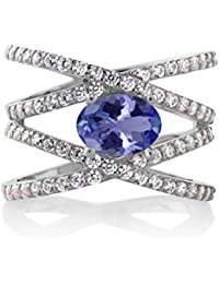925 Sterling Silver Blue Tanzanite Women's Criss Cross Ring (2.09 Cttw, 8X6MM Oval Center, Available in size 5, 6, 7, 8, 9