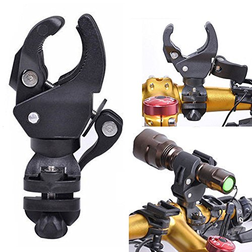 Flashlight Mounting Bracket, 0-90 Degree Bike Light Stand Bike Handlebar Grips Clamp Light for Flashlight Holder Flash Torch Bicycle Headlight Flashlight Mount LED Light Stand Bike Speaker Clamp Lamp ()