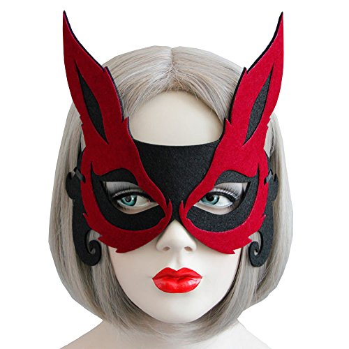 Price comparison product image Bodermincer Sexy Women Fox Half Face Mask Adult Children Mask Halloween Host Banquet Party Eye Face Mask Masquerade Party (Red+Black)