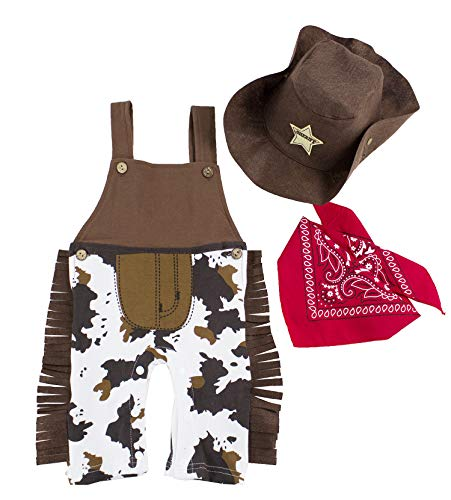 stylesilove.com Infant Toddler Baby Boy Sheriff Cowboy Overalls, Hat and Handkerchief 3-pc (95/18-24 Months) Brown ()