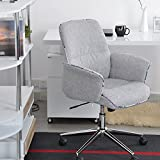 Cu Alightup Modern Linen Gaming Office Chair Ergonomic Middle Back Height Tilt Adjustable from 36.6 Inches to 39.8 Inches with 360-Degree Swivel & Smooth-Rolling Casters for Home Office Light Grey