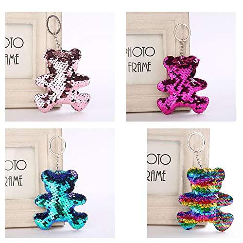 Purefire Cute Bear Keychain, Pompom Sequins Bear Keychain Metal Gift for Girls, Bear Keychain Charms Car Bag Accessories Key Chain]()