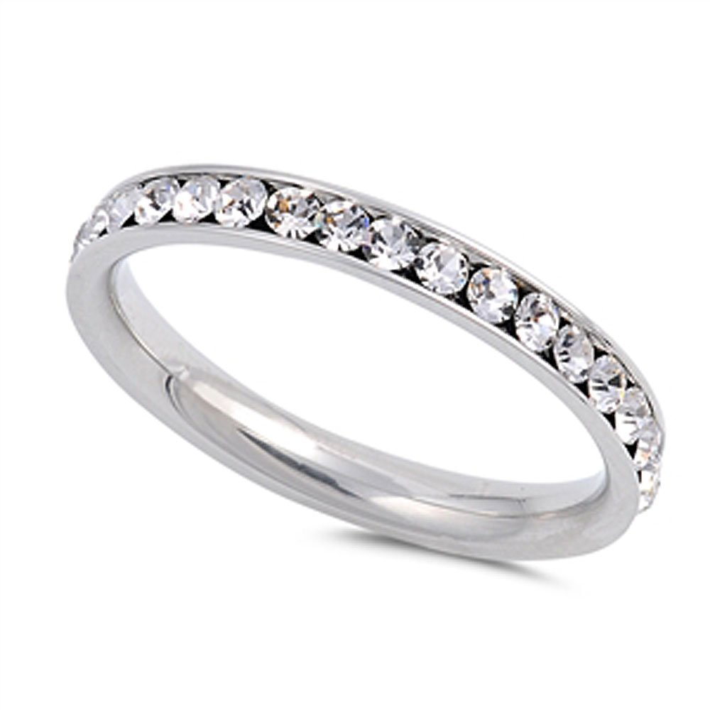 Amazon Stainless Steel Eternity Simulated Cz Wedding Band Ring 3mm Sz 310 Es With Box Jewelry: Cz Wedding Band Ring At Reisefeber.org