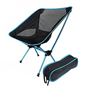 Silla plegable portátil ligero al aire libre ocio silla Alargar respaldo pesca Camping asiento fácil de guardar, Lake Blue