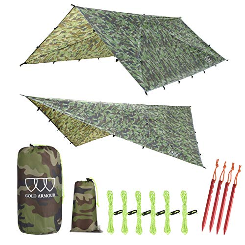 12ft Extra Large Tarp Hammock Waterproof Rain Fly Tarp 185in Centerline - Lightweight Ripstop Fabric - Stakes Included - Survival Gear Backpacking Camping Accessories - Multiple Colors (Camouflage)