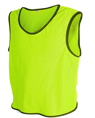 10x Fußball Leibchen Trainingsleibchen Markierungshemd Fußballleibchen Trikots (Neon Geld, M/L)