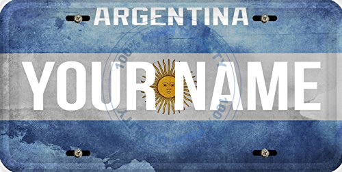 Argentina Flag License Plate - Personalized Custom Name License Argentina Flag Car Vehicle License Plate Auto Tag