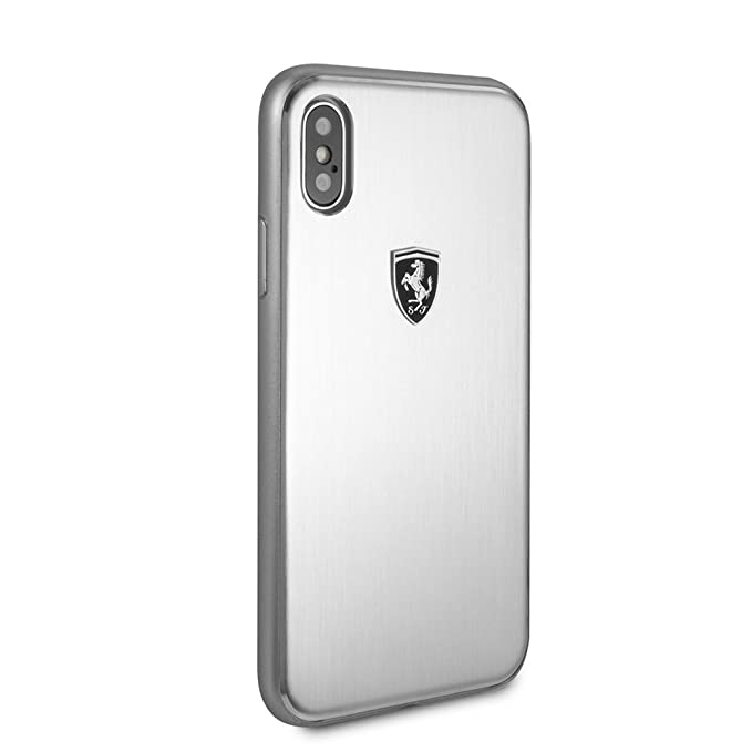 brand new d3bb8 6bdb1 Ferrari iPhone X & iPhone XS Case by CG Mobile - Silver Aluminum Cell Phone  Case Genuine Leather | Easily Accessible Ports | Officially Licensed.