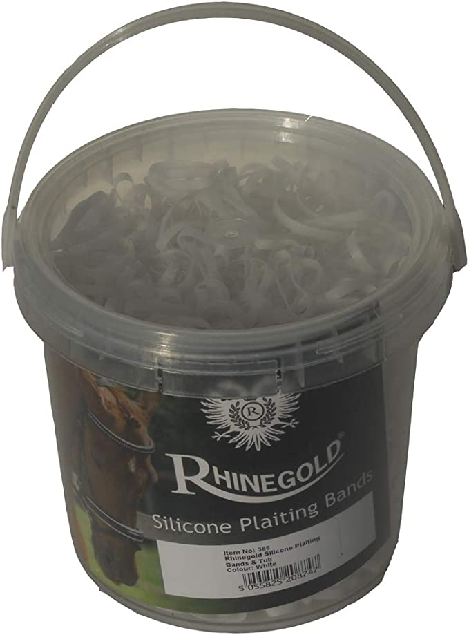 Rhinegold Silicone Horses Plaiting Bands In Handy Tub