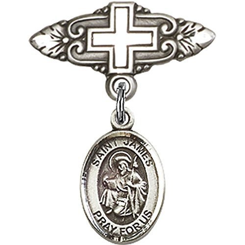 Sterling Silver Baby Badge with St. James the Greater Charm and Badge Pin with Cross 1 X 3/4 inches by Unknown