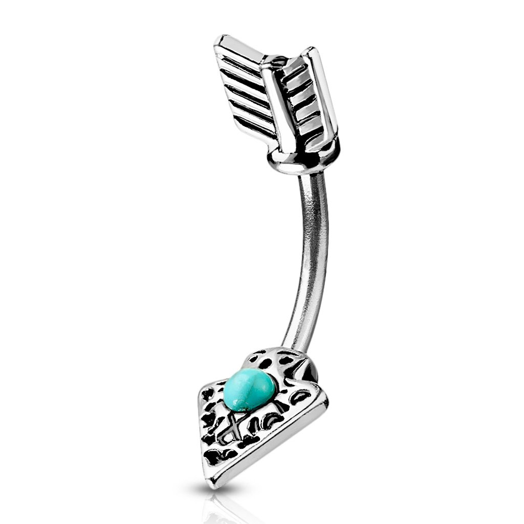 Fifth Cue 14G Turquoise Set Tribal Arrow 316L Surgical Steel Belly Button Navel Ring FifthCue JQN19398