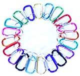 G & F 13031-20 2nd Gen. Enhanced Aluminum Carabiner Key Chain D Shape Spring-loaded Gate, Pack of 20 pieces + 20 Free keychain