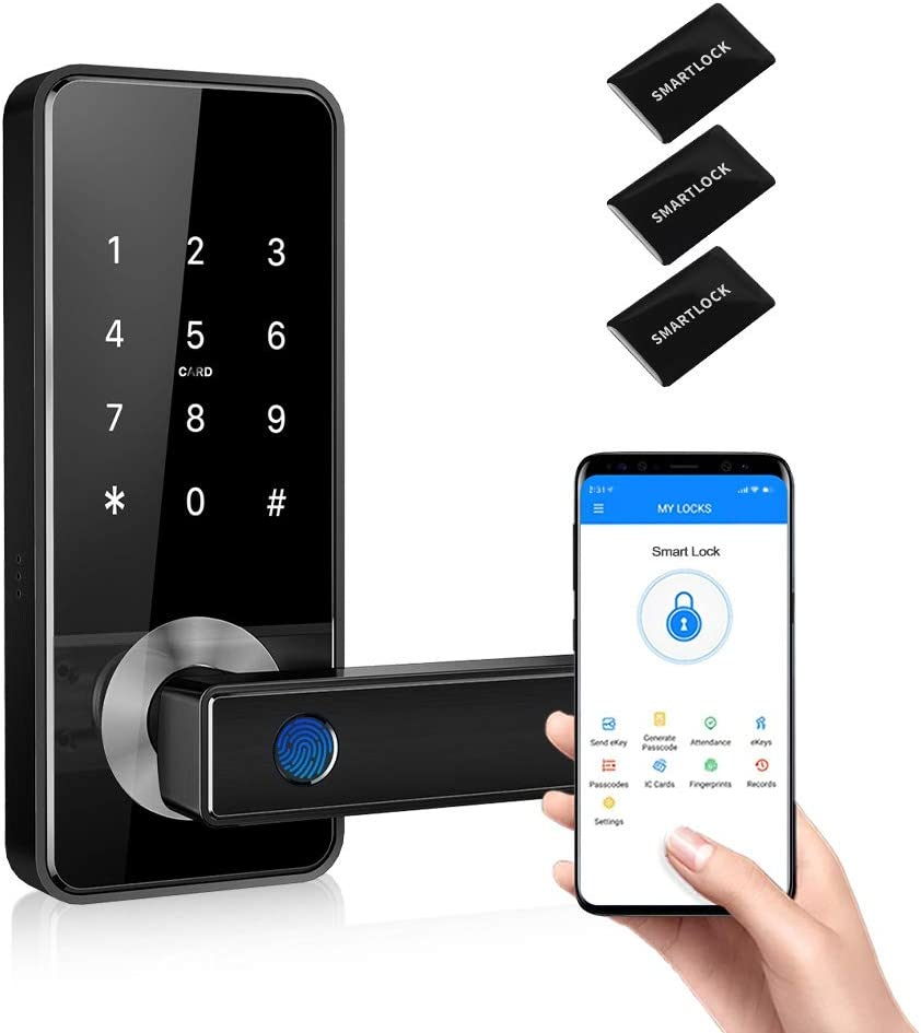 Tiffane Smart Fingerprint Door Lock with Touchscreen, 5-in-1 Keyless Entry Biometric Fingerprint Door Lock Passcode WiFi Bluetooth Card Key for Office Home Apartment (Black)