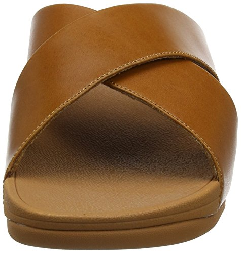 Fitflop Women's Lulu Cross Slide Leather Open Toe Sandals Brown (Caramel 098) bd08oA0