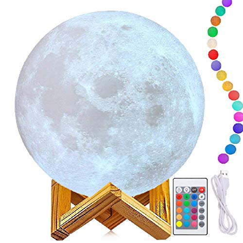 """11"""" Moon Lamp, Genuine Moon Light Lamps(6""""- 11""""),3D Printing Moon Lamp with Stand,The 3D Moon Lamp with LED 16 Colors, Touch Control and Remote Control."""