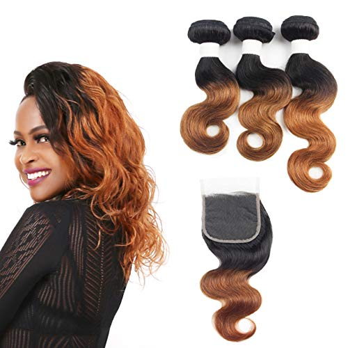 Peruvian Ombre Hair Bundles With Closure - Orange Star 3 PCS Body Wave 1B30 Hair Bundles With 4x4 Free Part Human Hair Lace Closure (10 12 14+10) -