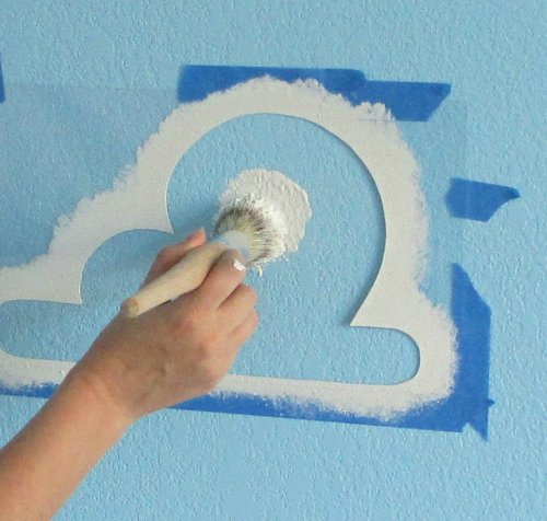 Cloud Stencil Set for Wall Decor: Reusable Stencils for a Kid's Toy Story Room or Andy's Room Nursery, 2-Pack Includes 1 Large and 1 Small Cloud Stencil by Living Lullaby Designs (Image #3)