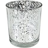 "Just Artifacts Mercury Glass Votive Candle Holders 3""H Speckled Silver (Set of 12) - Mercury Glass Votive Candle Holders for Weddings and Home Décor"