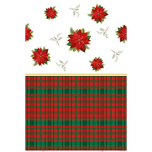 Poinsettia Plaid Holiday Plastic Tablecloth