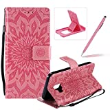 Wallet Case for Galaxy J2 Core,Strap Flip Case for Galaxy J2 Core,Herzzer Retro Elegant [Pink Mandala Flower Pattern] Stand Magnetic Leather Case with Soft TPU