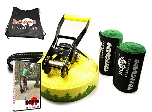 Extra Long 85ft Slackline Kit for Beginners & Adults Longline Includes 2x Tree Wraps, Safety Lock Ratchets, Carrying Bag, Instruction Manual & Video Setup Link Thick Dynamic Webbing