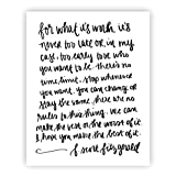 For What It's Worth F. Scott Fitzgerald Print Art | Motivational Quote Inspirational Gallery Wall Office Accessories