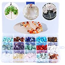 Gofypel Gemstone Beads Wholesale Natural Chips Gemstone 15 Colors Turquoise Agate Stone Amethyst Tiger Eye Stone and Other Nature Stone Crushed Stone Box Equipment for Jewelry Making Supplies