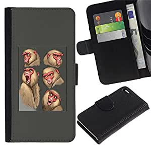 All Phone Most Case / Oferta Especial Cáscara Funda de cuero Monedero Cubierta de proteccion Caso / Wallet Case for Apple Iphone 4 / 4S // mono mono boceto dibujo gris animales