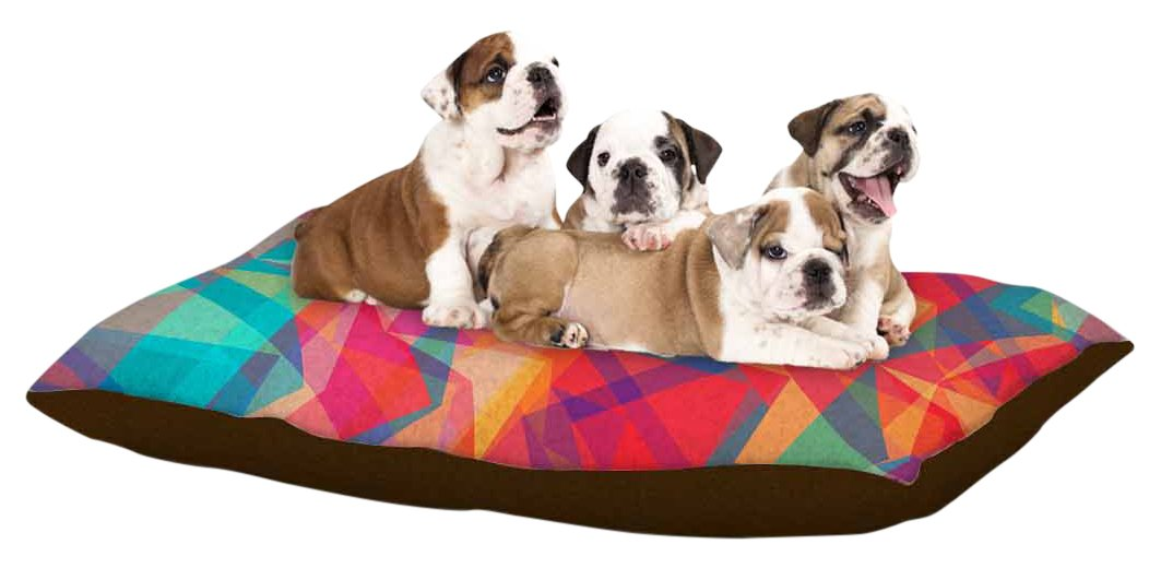 Kess InHouse Miranda Mol Triangle Opticals  Pink Multicolor Fleece Dog Bed, 50  x 60