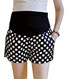 Hibukk Retro Contrast Dot Pattern Pleat Detail Full Panel Maternity Shorts, Black 2,Manufacturer(M)