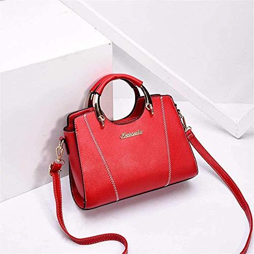 Casual Mujer Blanco Rojo Willsego Bandolera De Moda 5x19cm 25x12 Totes Tote bolso Tamaño color HawgqwYI