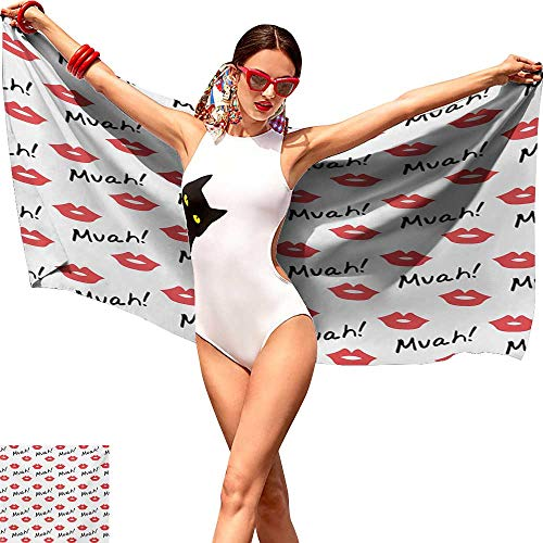 (Bathroom Body Shower Towel Kiss Red Woman Lips Kiss Marks Pattern Romance Feminine Graphic Sweet Valentines Day Homes and Travel 10