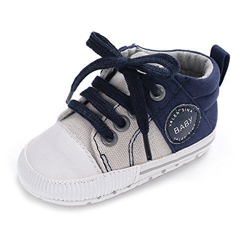 Infant Soft Sole Shoe - Baby Girls Boys Canvas Shoes Soft Sole Toddler First Walker Infant High-Top Ankle Sneakers Newborn Crib Shoes (M: 4.73 inch(6-12 Months), C-Navy)