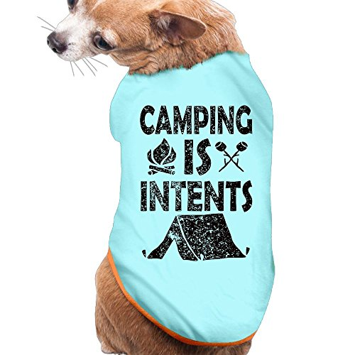 Have Fun Camping Together New Fashion CutePuppy Shirt Clothes Dress Plain Sleeveless Costumes Best Holiday Gift L SkyBlue