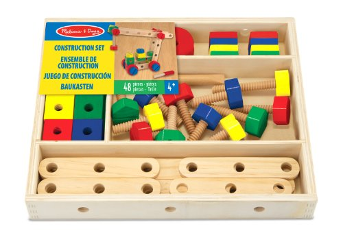 Melissa & Doug Wooden Construction Building Set in a Box (48 ()