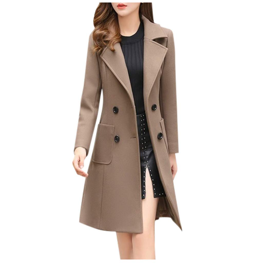 Fashionhe Womens Winter Lapel Button Long Trench Coat Jacket Ladies Casual Overcoat Outwear(Brown.3XL) by Fashionhe