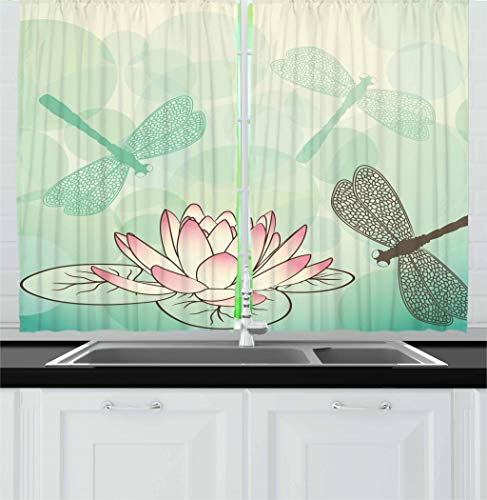 er Kitchen Curtains, Exotic Blossom with Pinkish Petals Water Lily and Dragonflies on Pale Green, Window Drapes 2 Panel Set for Kitchen Cafe Decor, 55