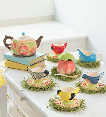 HearthSong Children's Ceramic Songbird Tea Set, Includes Teapot, Cups, Saucers, Sugar Bowl and Creamer, All Food Safe...