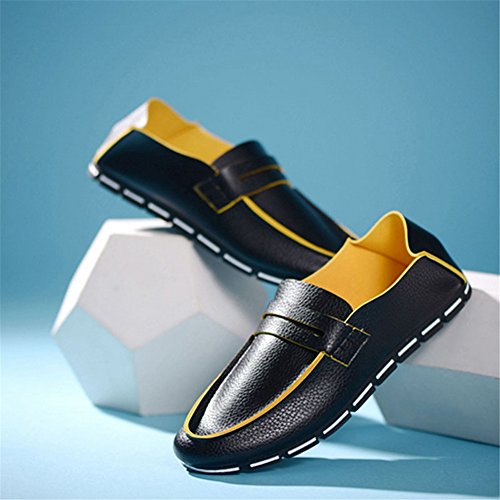Loafer Casual Men's Shoes Leather Summer shoes Breathable Black Peas qw46UE5