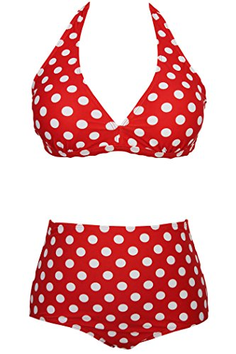 IF FEEL Womens Polka Dots High Waist Red Plus Size Bikini Swimwear Bathing Suit - Size XXXXL
