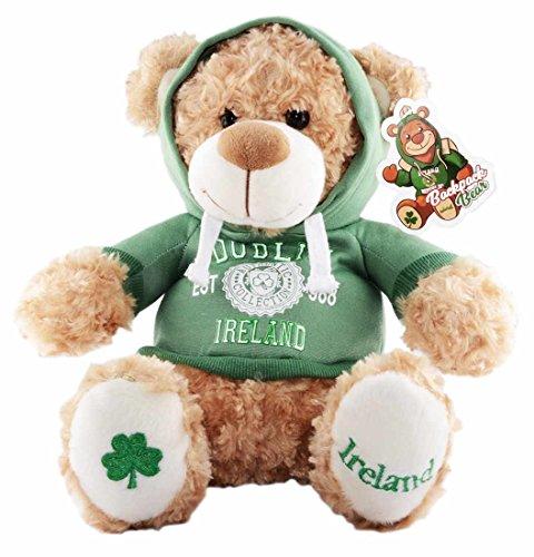 Carrolls Irish Gifts Cream 30cm Teddy Bear Backpack with Dublin Ireland Est 988 with Hooded Top ()