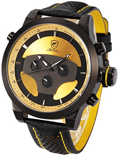 Yellow Requiem Shark Series Dual Time Zone Analog Date Day Mens Leather Sport Wrist Watch (Day Date Series)